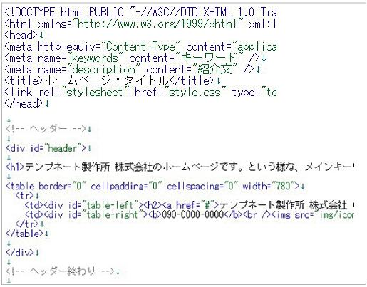 html ここにホームページの内容が入ります。 /html   ... DOCTYPE(文書構造